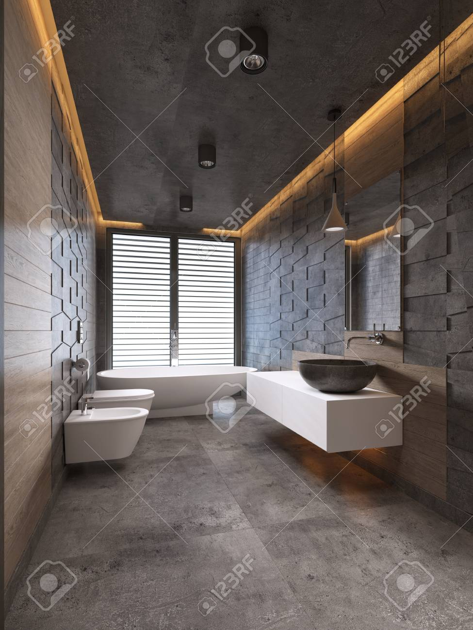 Contemporary Bathroom In Dark Tones With Ceiling Lighting 3d Stock Photo Picture And Royalty Free Image Image 113305103