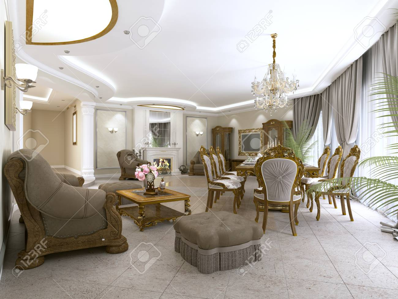 A modern classic living room in an art deco style with a dining..