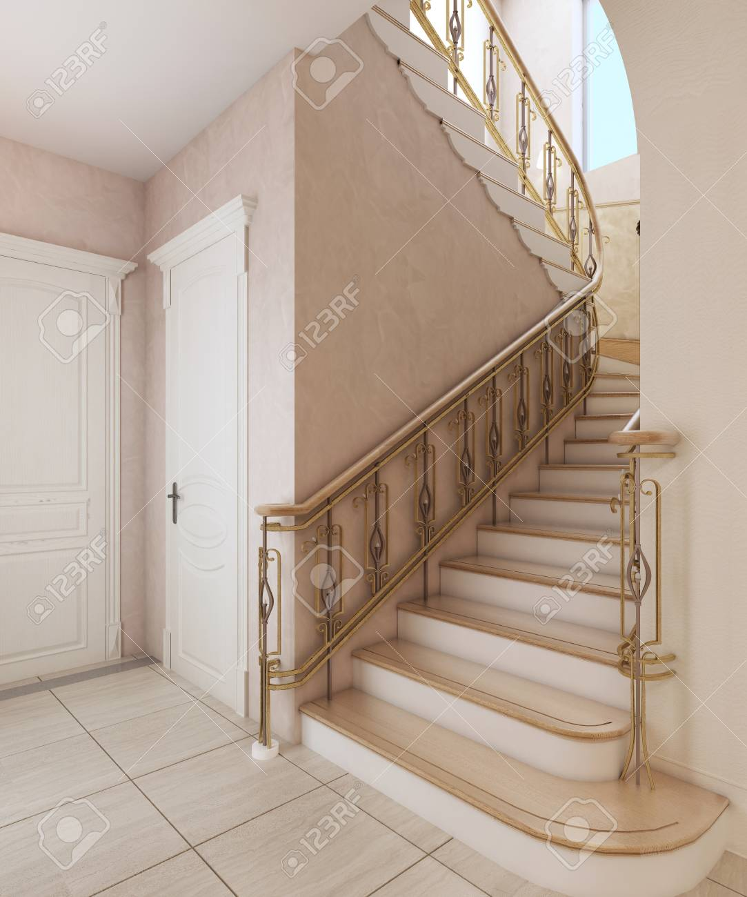 Staircase In The Interior Of A Private House In A Classic Design Stock Photo Picture And Royalty Free Image Image 113305965