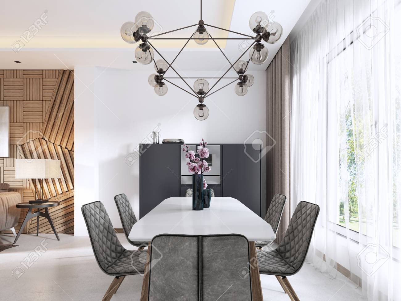Dining Room In Contemporary Style With Modern Chairs And A Table