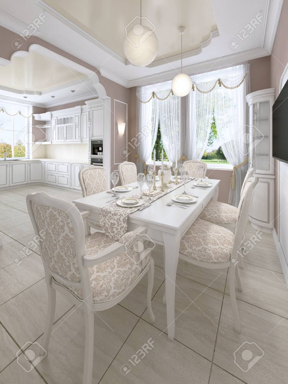 Kitchen dining room in classic style, in postel colors with white..