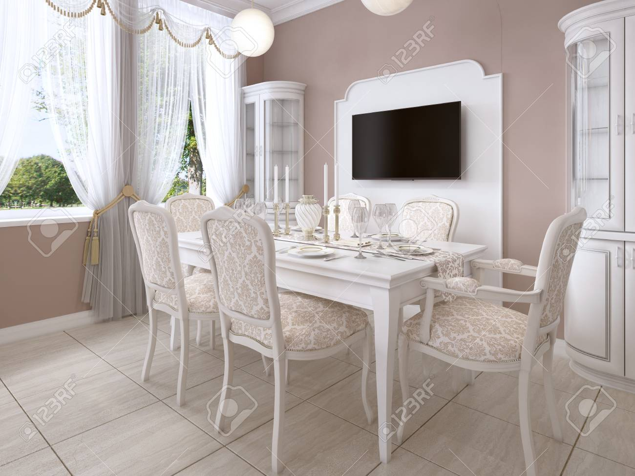 Dining Room With White Table And Chairs For Six People Two Sideboards A TV