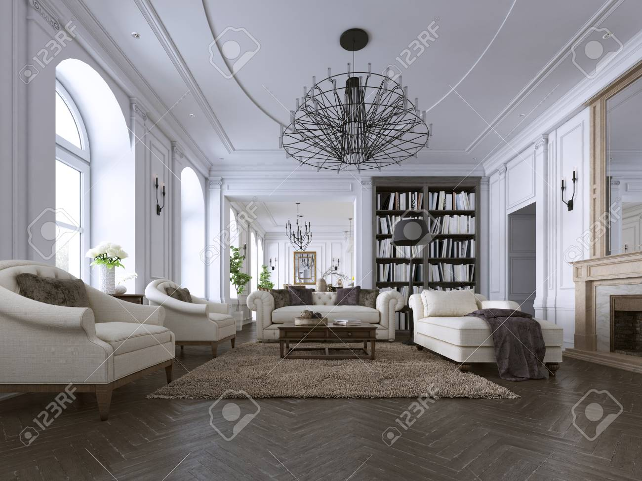 Classic Living Room Paneling And Ceiling Moldings Over A