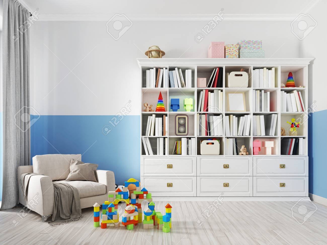 Colorful Children S Room Interior With Bookcase Bed Pillow