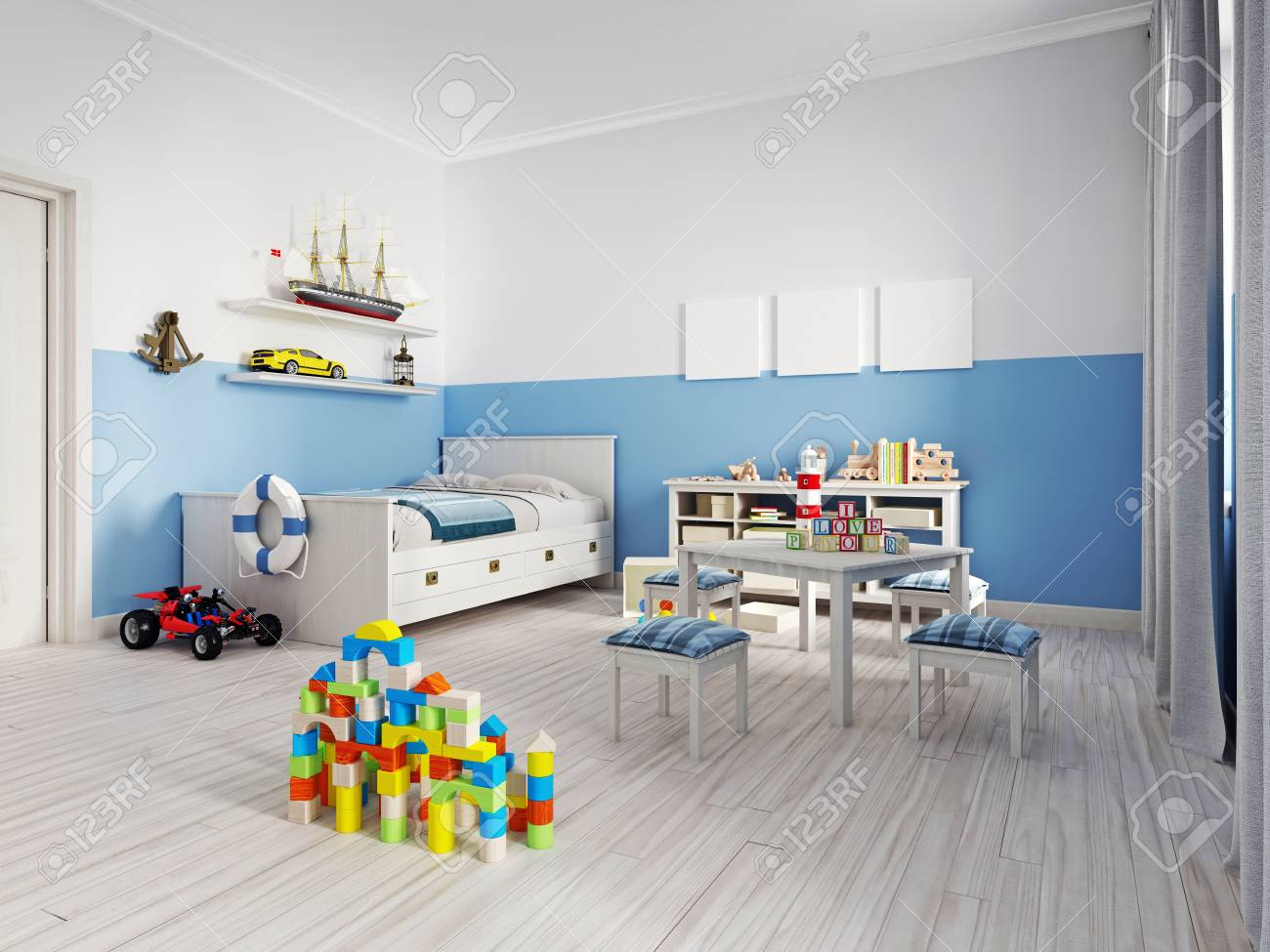 Cozy Modern Childrens Room Decor With White Furniture Floor