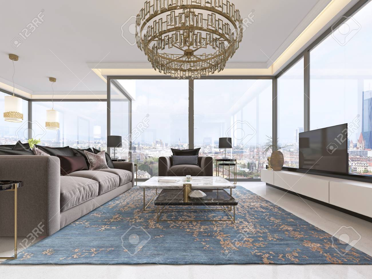 Luxurious Interior Of Living Room Contemporary Style With Tv Stock Photo Picture And Royalty Free Image Image 113307614