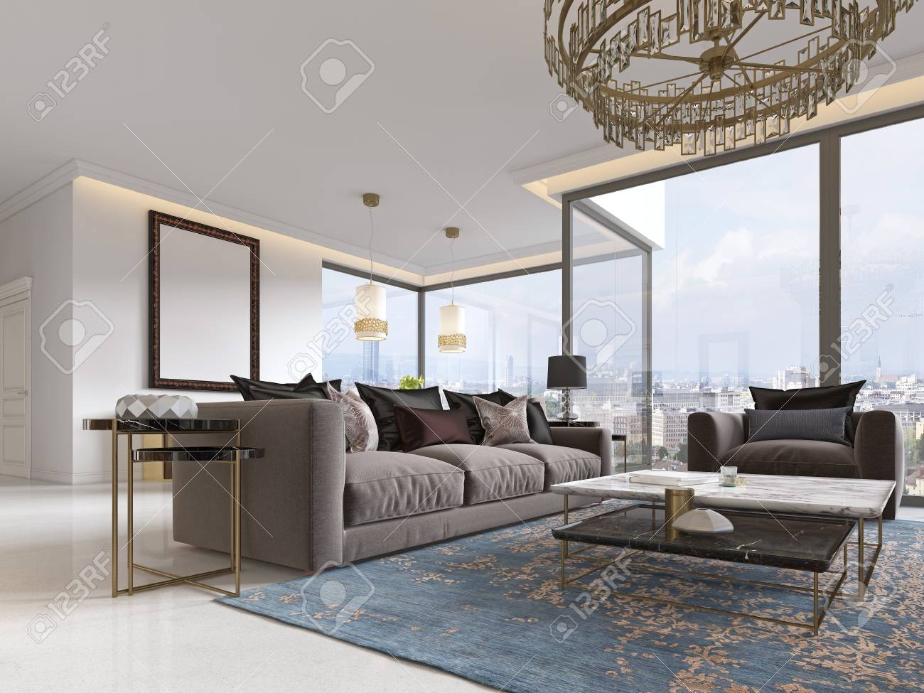 Modern Luxury Living Room.Modern Luxury Living Room Interior With A Sofa Armchairs A