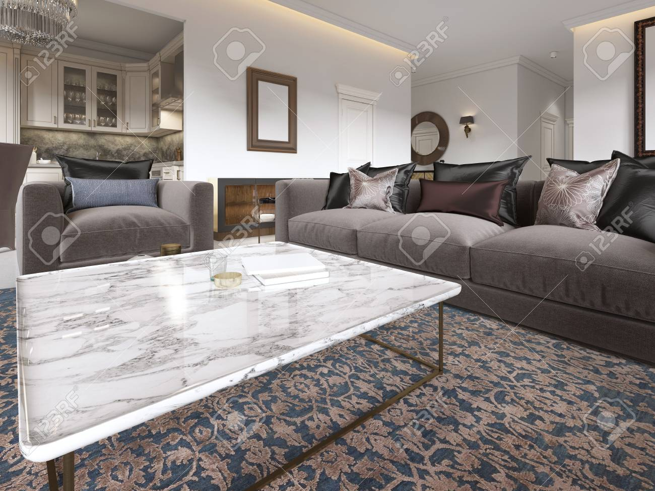 Modern Luxury Living Room Interior With A Sofa Armchairs A Stock Photo Picture And Royalty Free Image Image 113307613