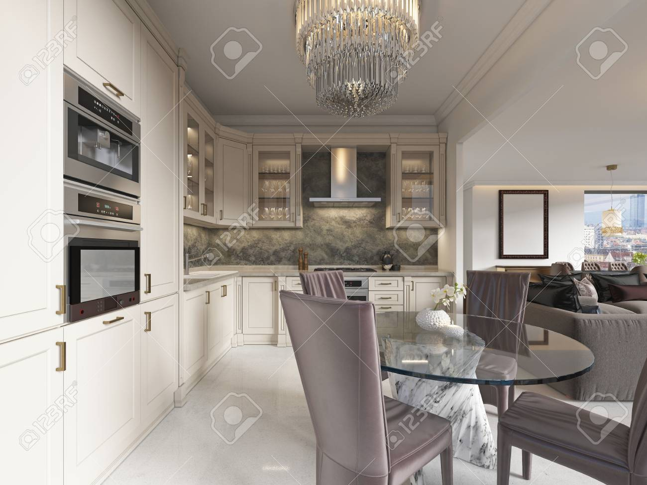 Contemporary kitchen with elements of a classic with a dining..
