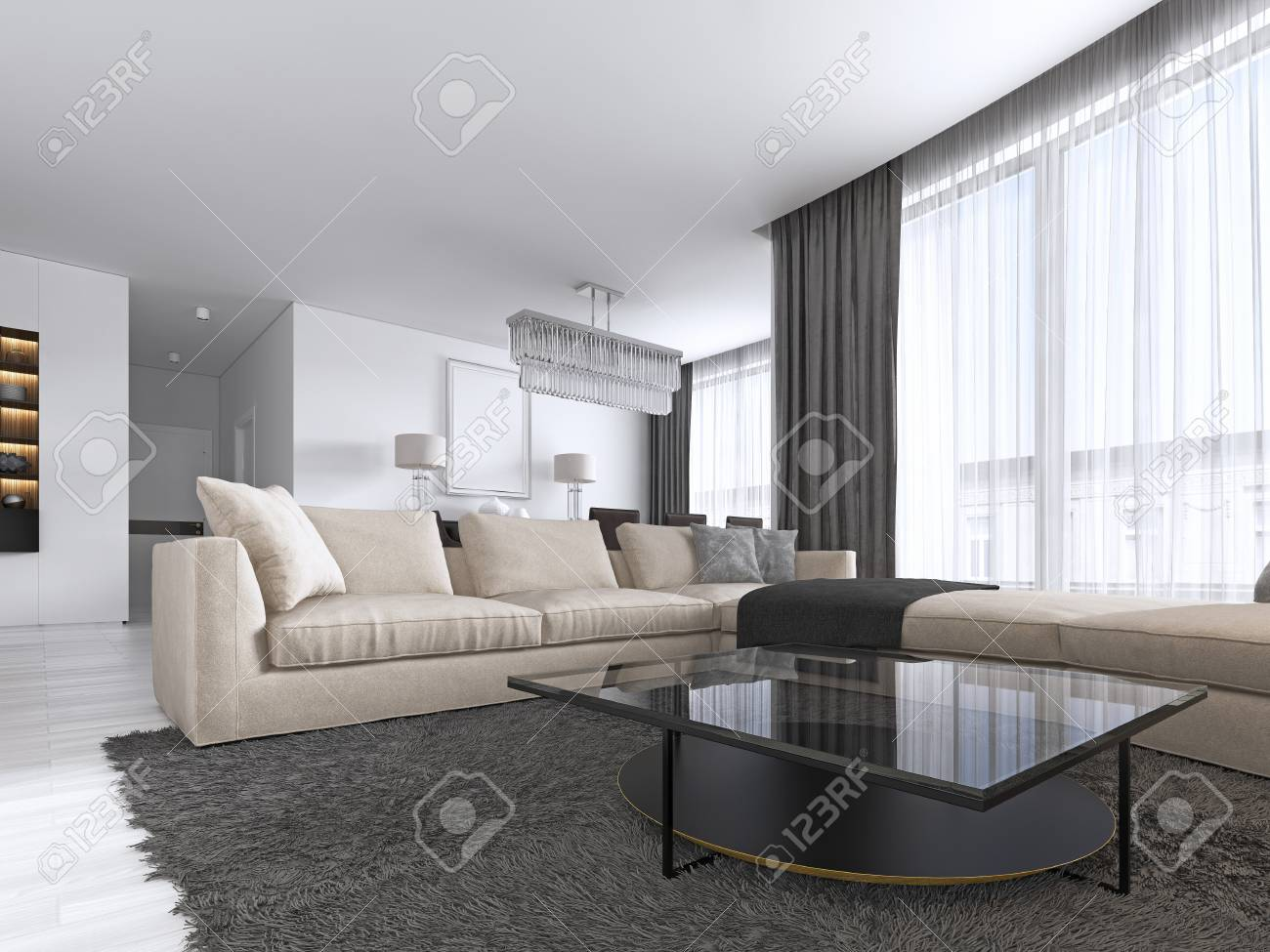 Interior Design Living Room With A Large Corner Sofa And A Tv