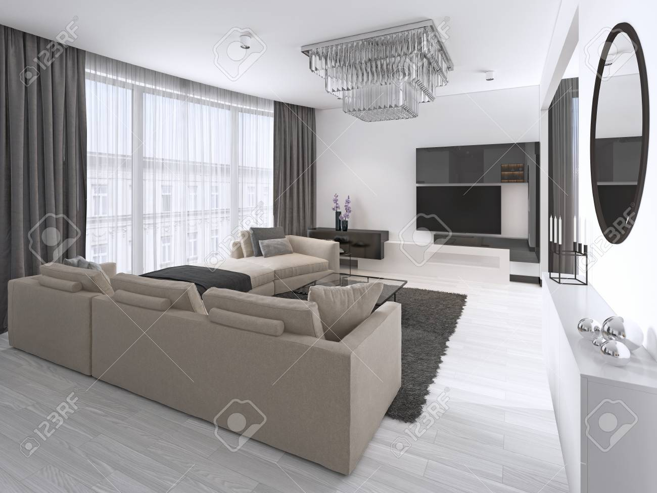 Interior Design: Living room with a large corner sofa and a TV..