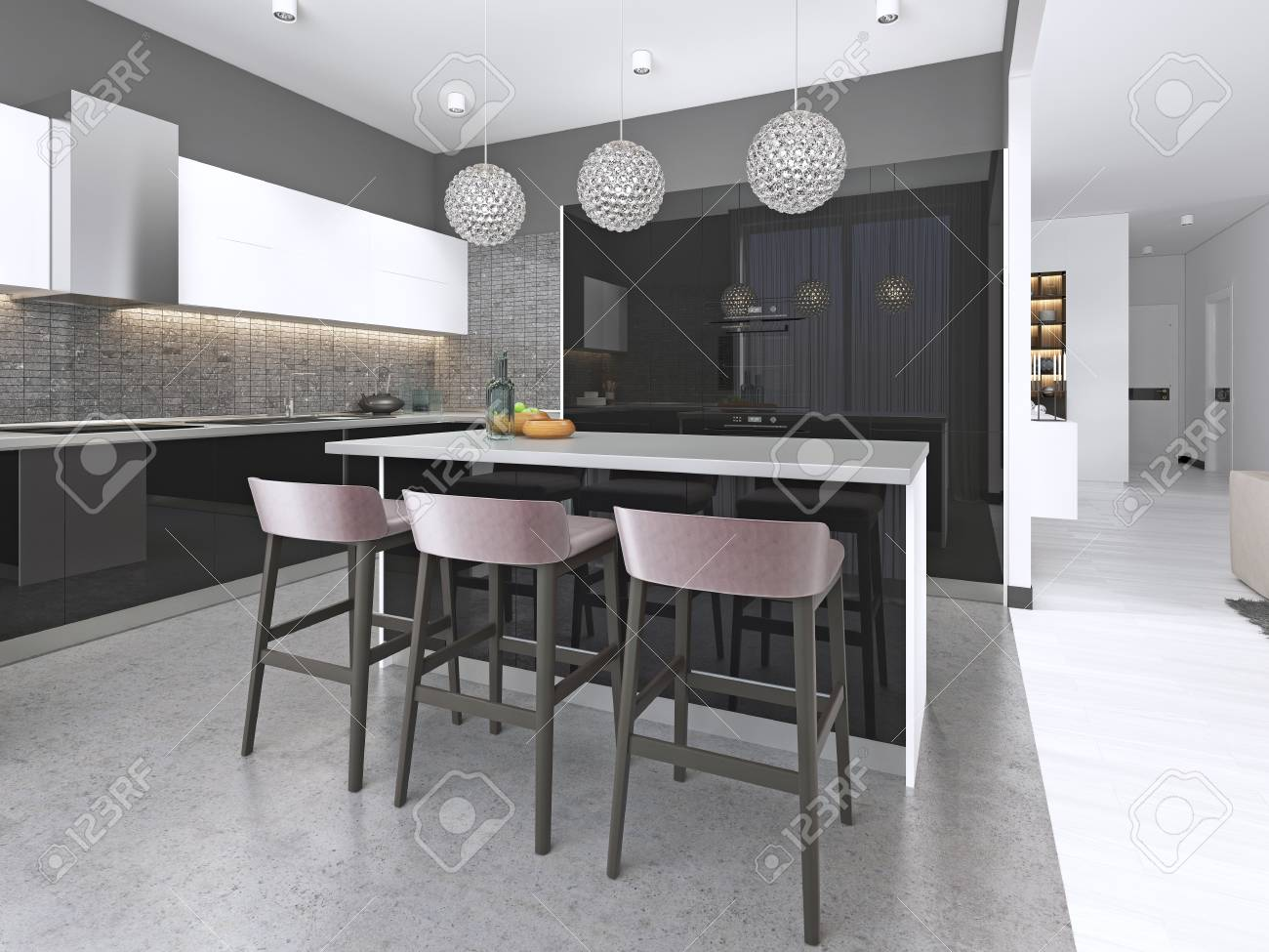 more photos 19806 2812f Modern kitchen with an island and bar stools with built-in appliances...