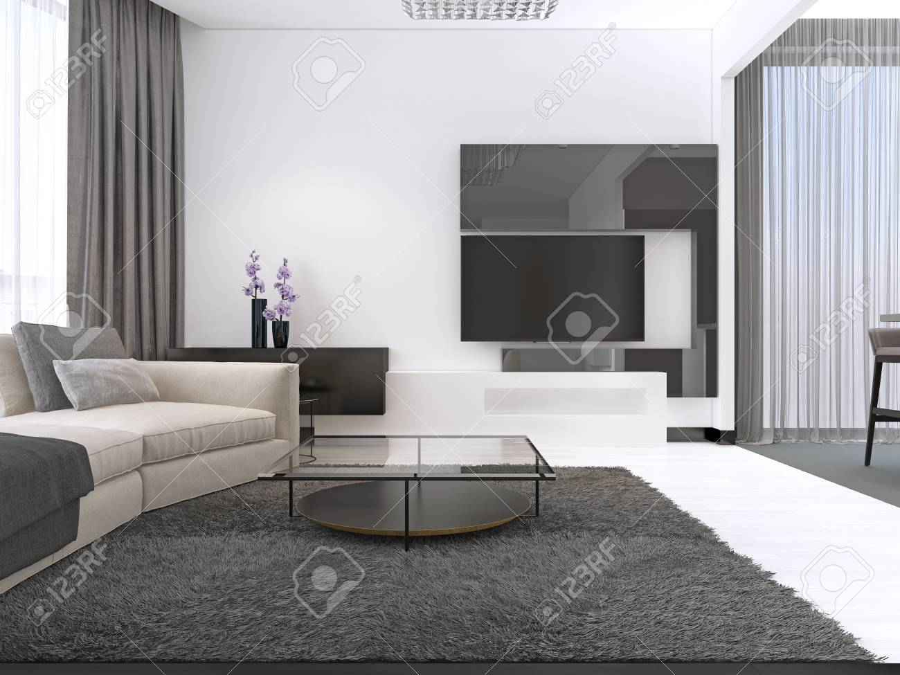 Interior Design Living Room With A Large Corner Sofa And A Tv Stock Photo Picture And Royalty Free Image Image 113376606