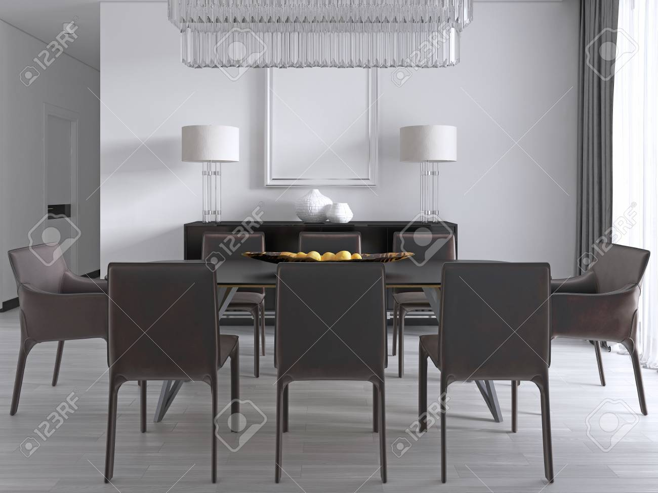 Contemporary Dining Room With A Large Rectangular Dining Table ...