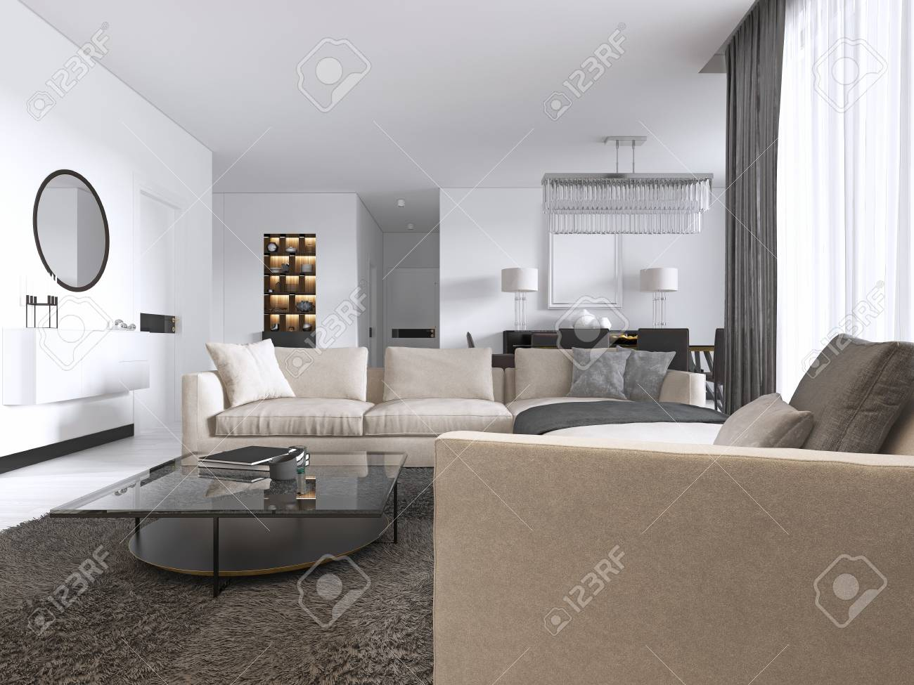 Modern light contemporary living room with large corner sofa..
