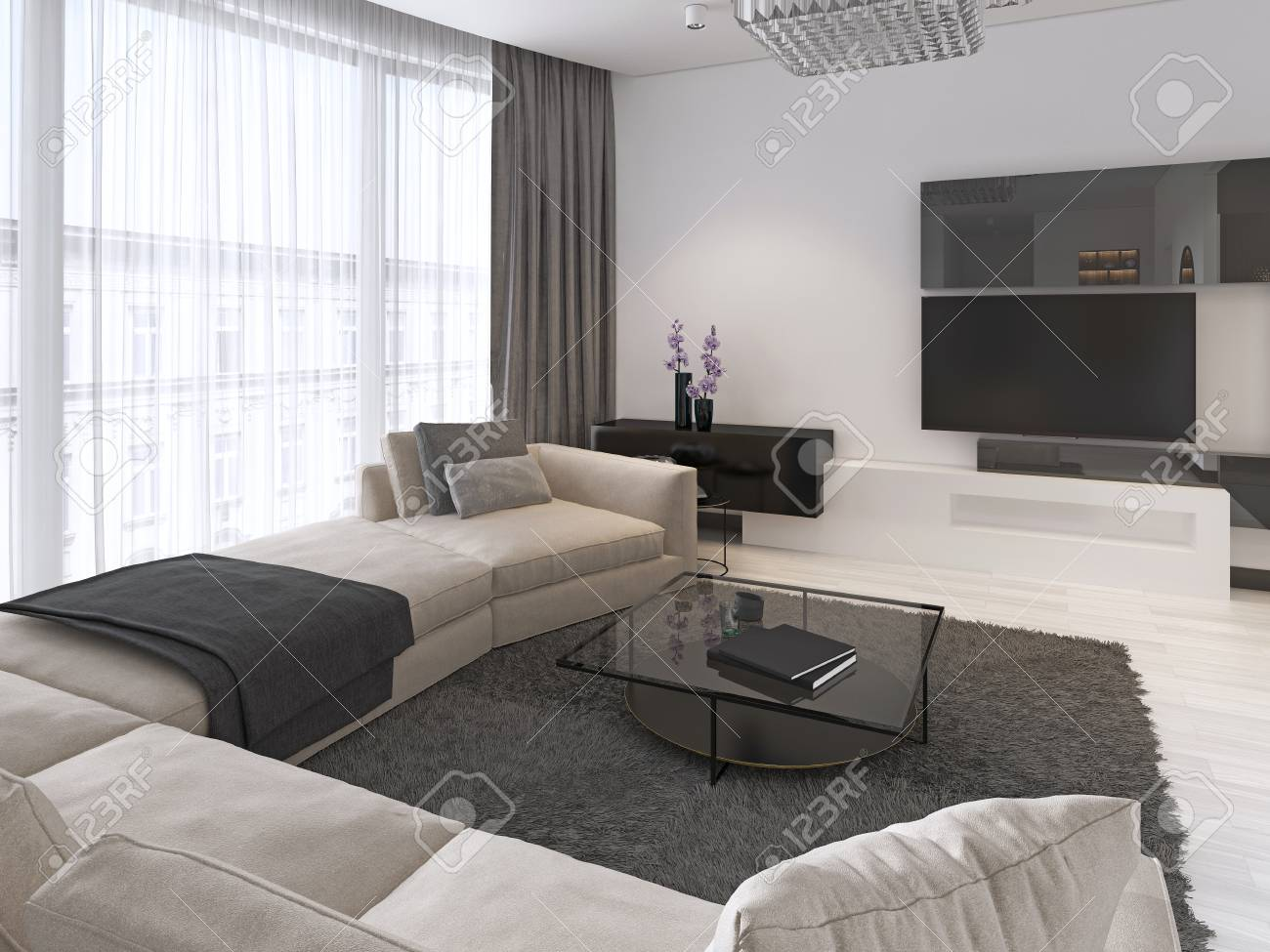 Modern Light Contemporary Living Room With Large Corner Sofa