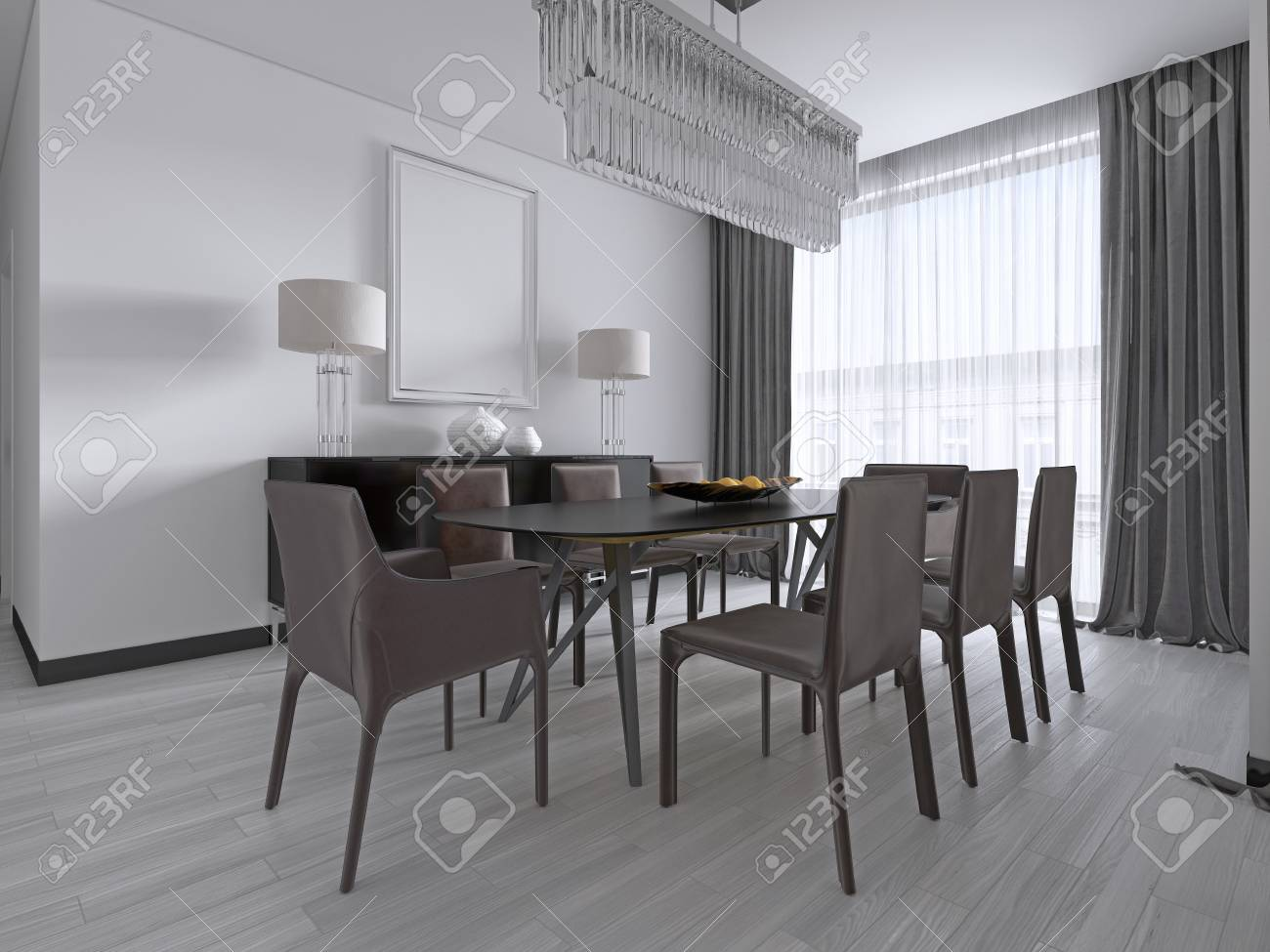 Large Dining Room Table Leather Chairs