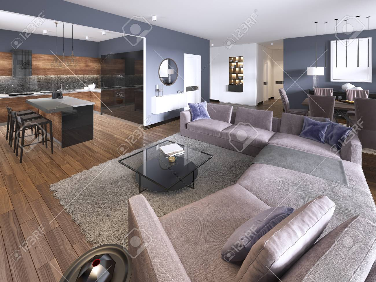 Luxury modern studio apartment spacious lounge with multicolored..
