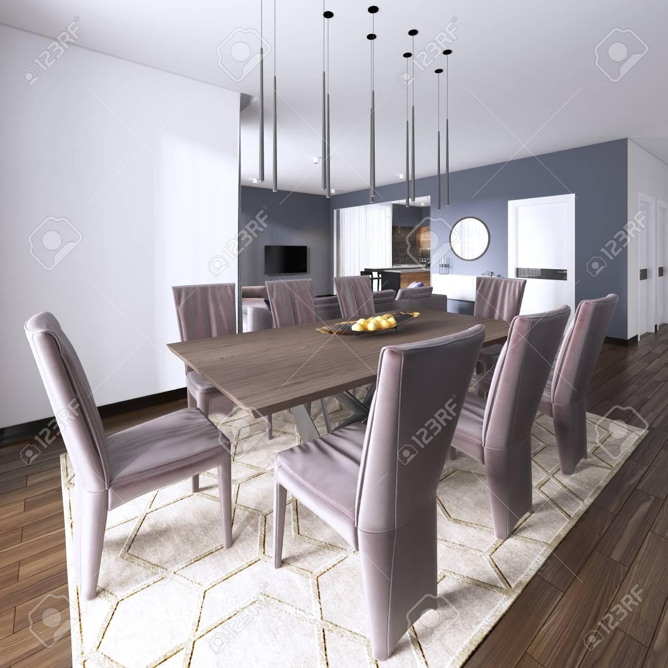 Luxurious modern dining room boasts a wood dining table illuminated..