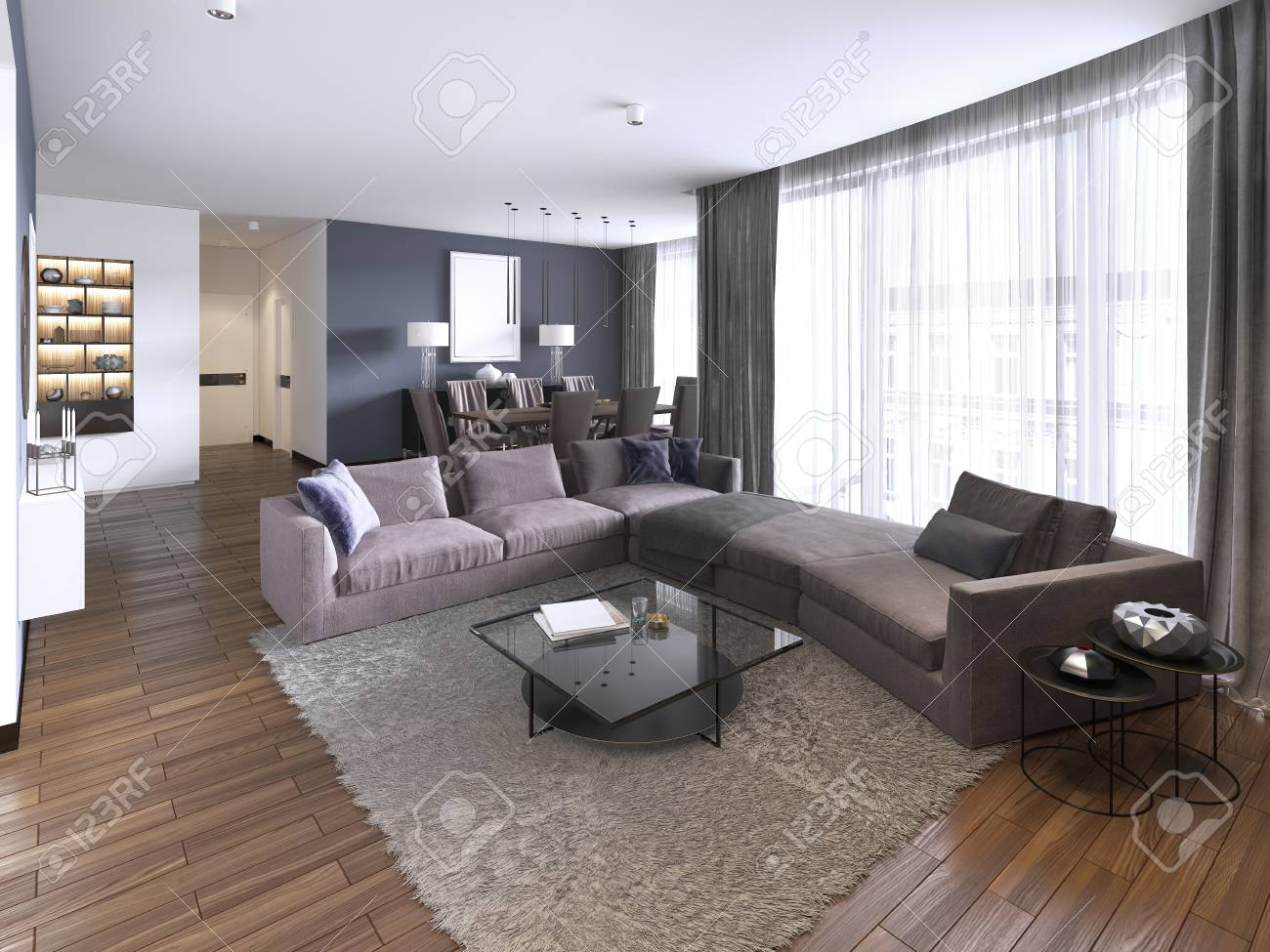Colorful modern apartments with big corner sofa and TV storage..