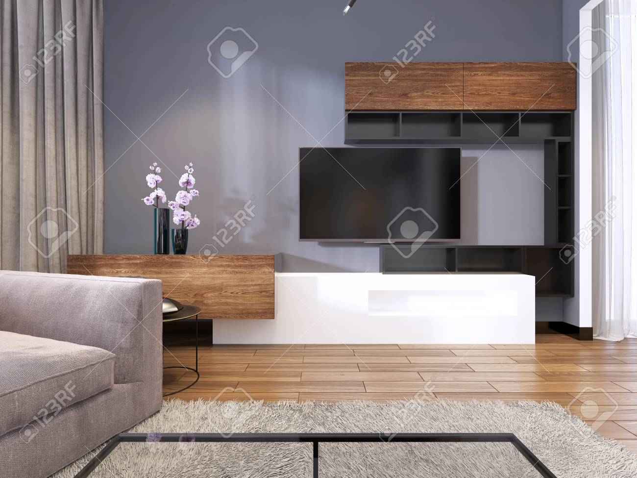 Tv Storage With Shelves In Modern Living Room With Corner Big Stock Photo Picture And Royalty Free Image Image 113376907