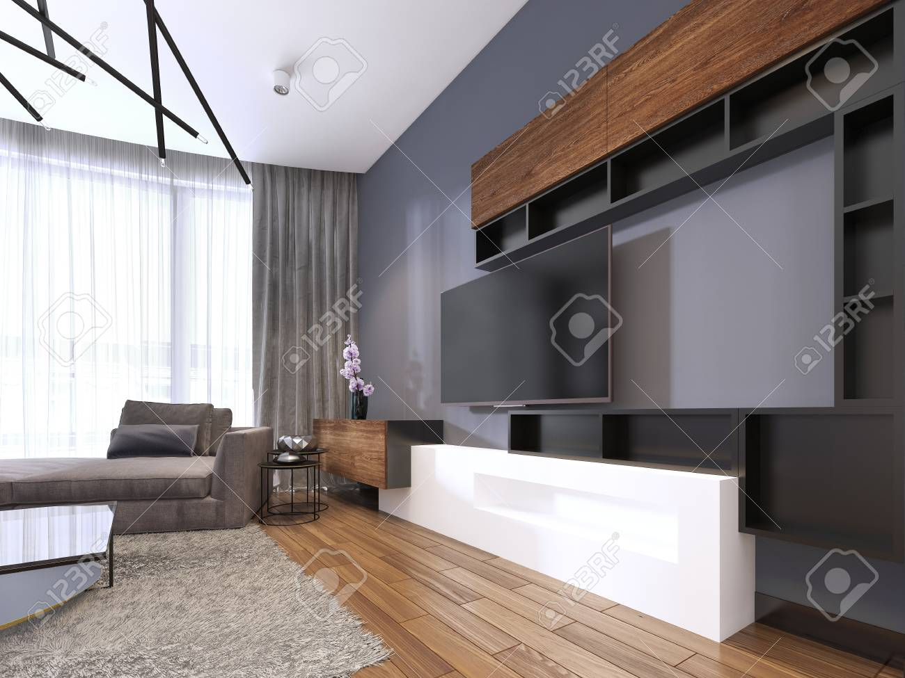 TV storage with shelves in modern living room with corner big..