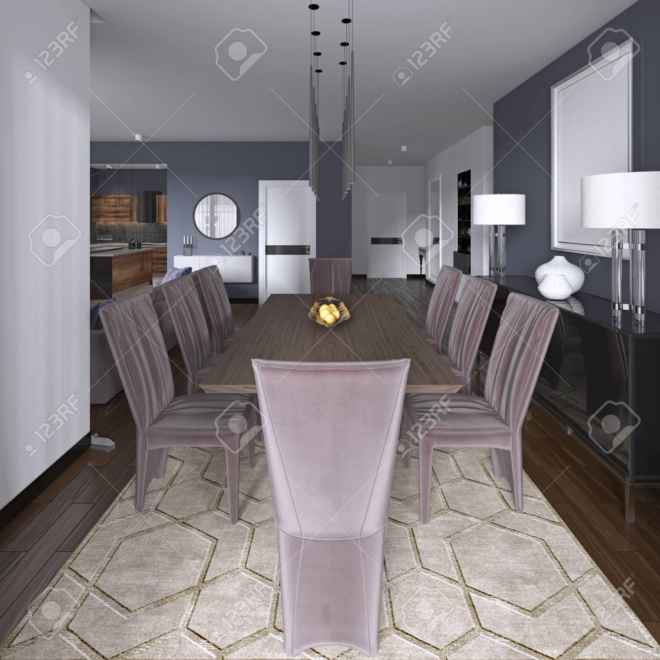 Nicely Decorated Luxury Living Dining Room Dining Table And