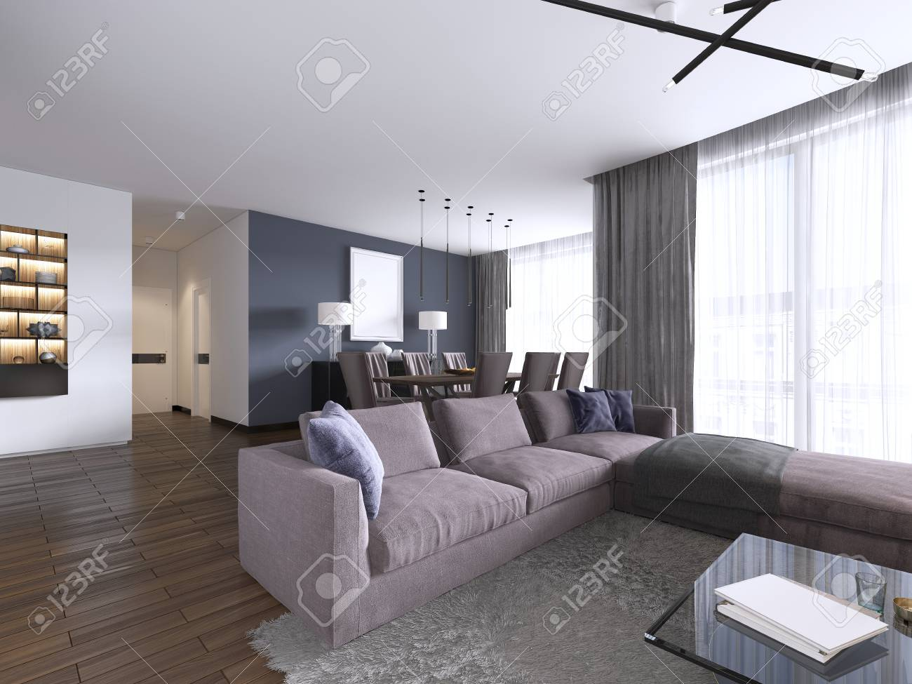 Chic living room filled with built-in cabinets, violet corner..