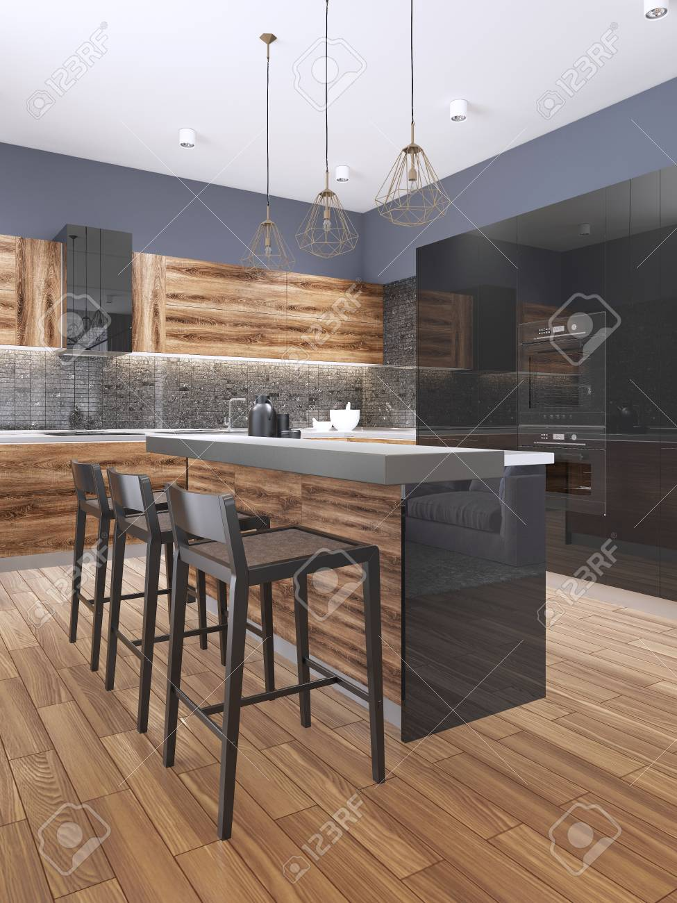Large Luxury Contemporary Kitchen With Stone Island Bench 3d