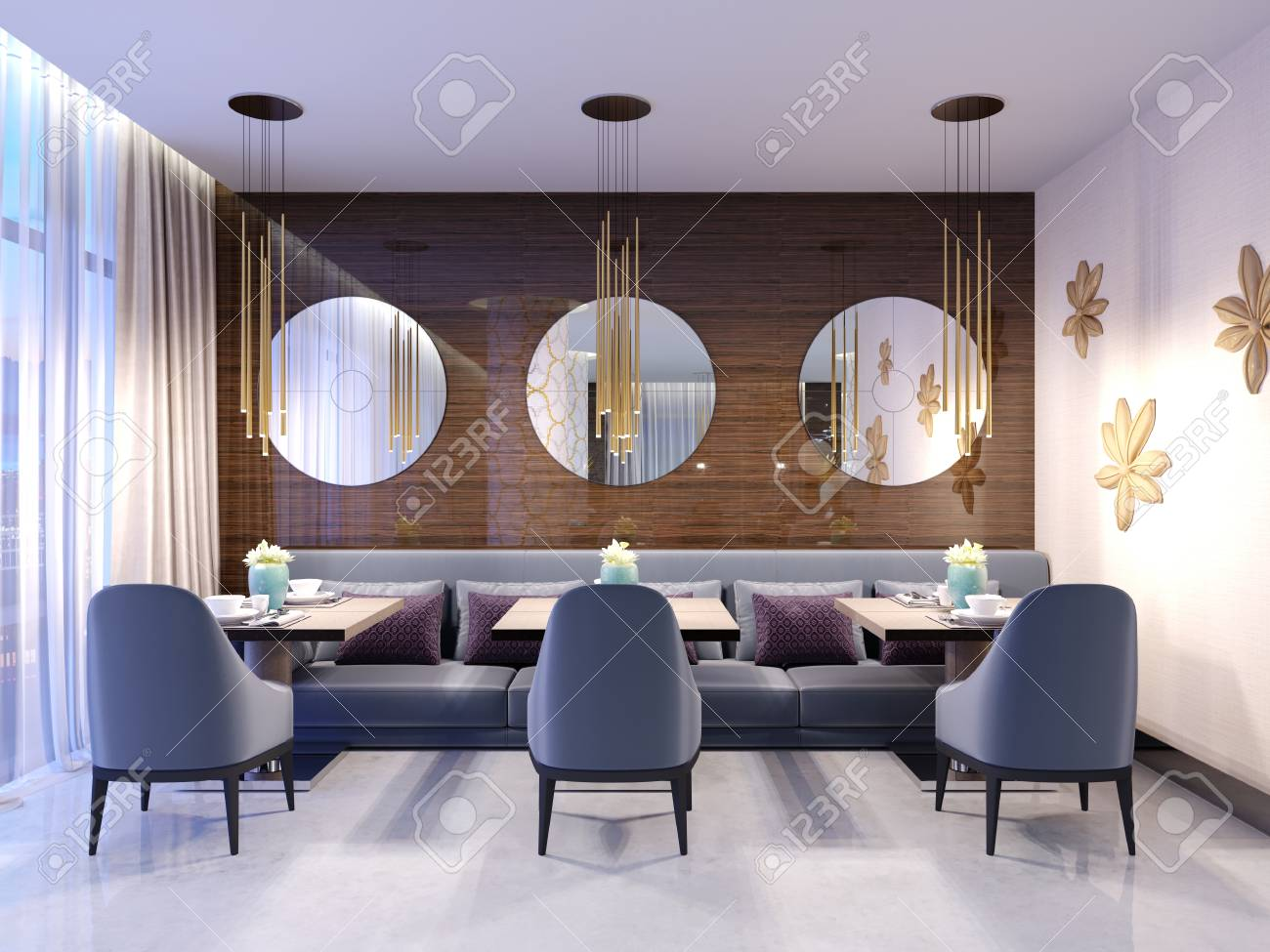 Swell Modern Restaurant With Wooden Decorative Wall And Round Mirrors Download Free Architecture Designs Lukepmadebymaigaardcom
