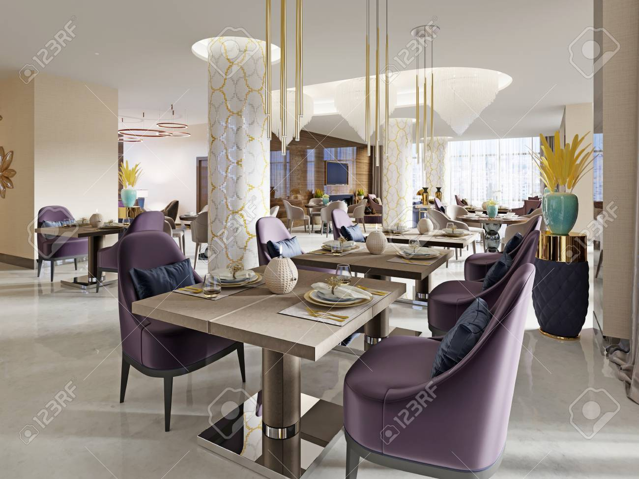 Modern concept design of restaurant lounge. 3D Rendering