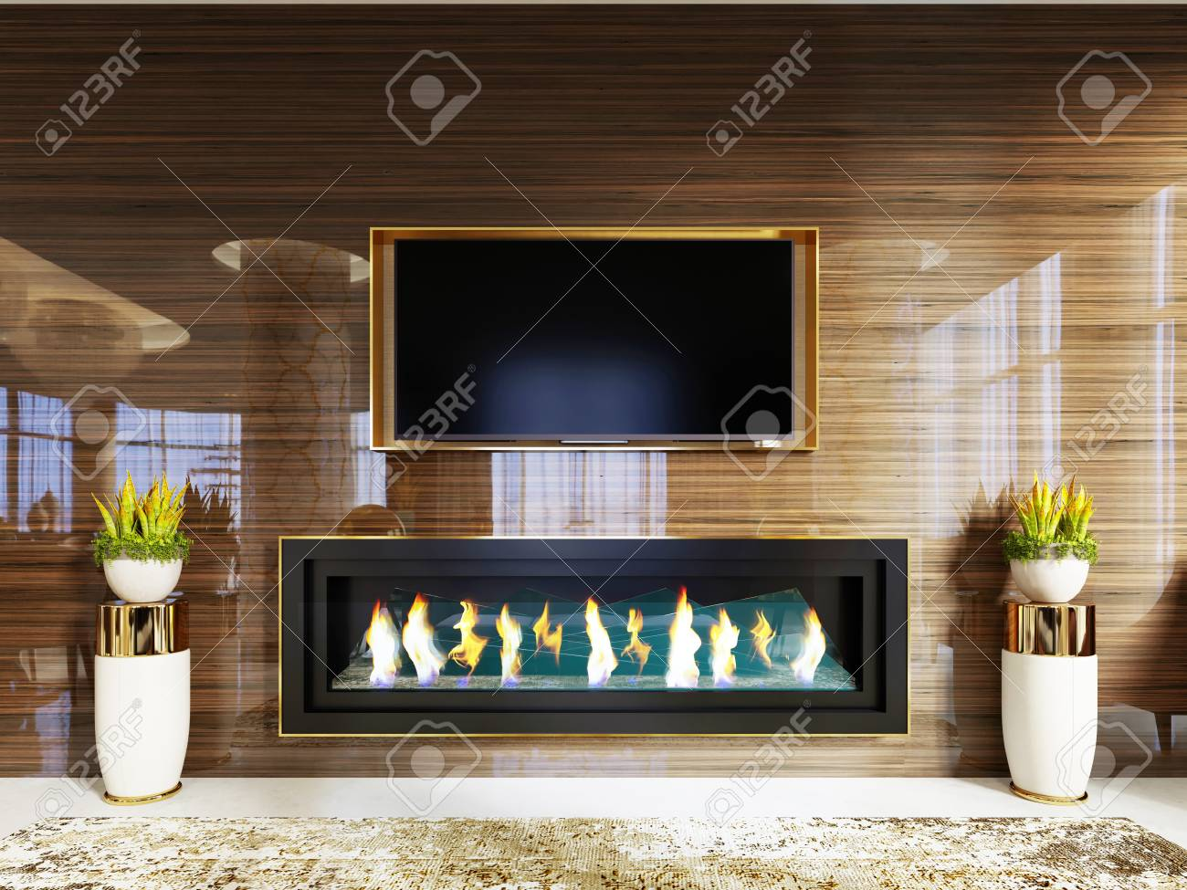 Luxury Designer Lobby Hotel With A Fireplace And A Tv Set Built