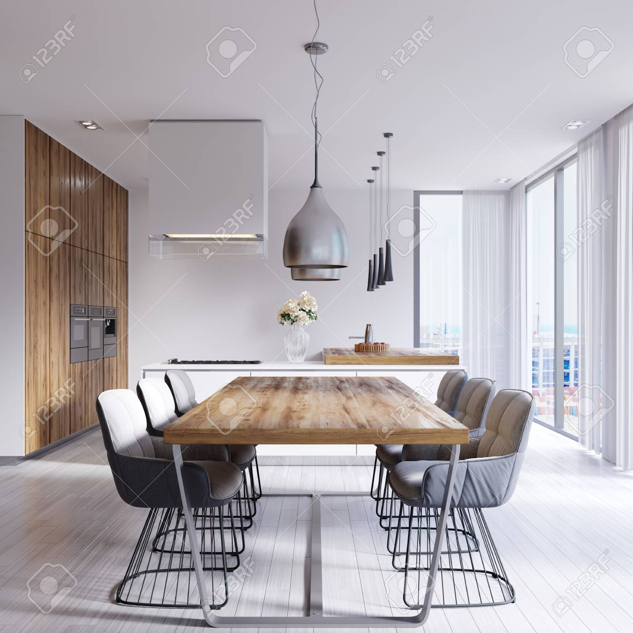 Contemporary dining room with large table and loft style chairs...