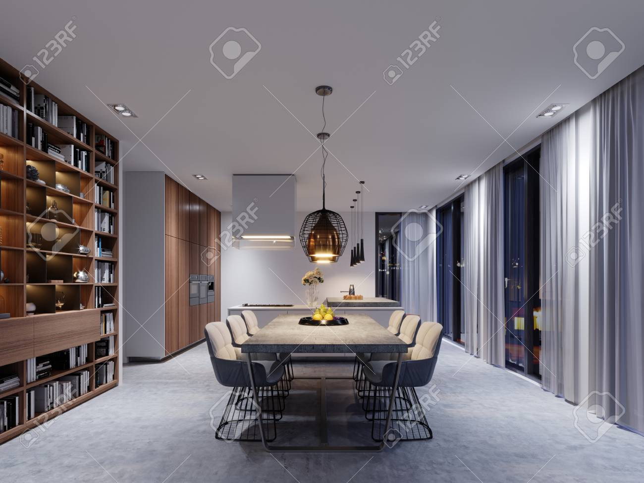 Large Dining Room With Kitchen Large Dining Table In A Fashionable