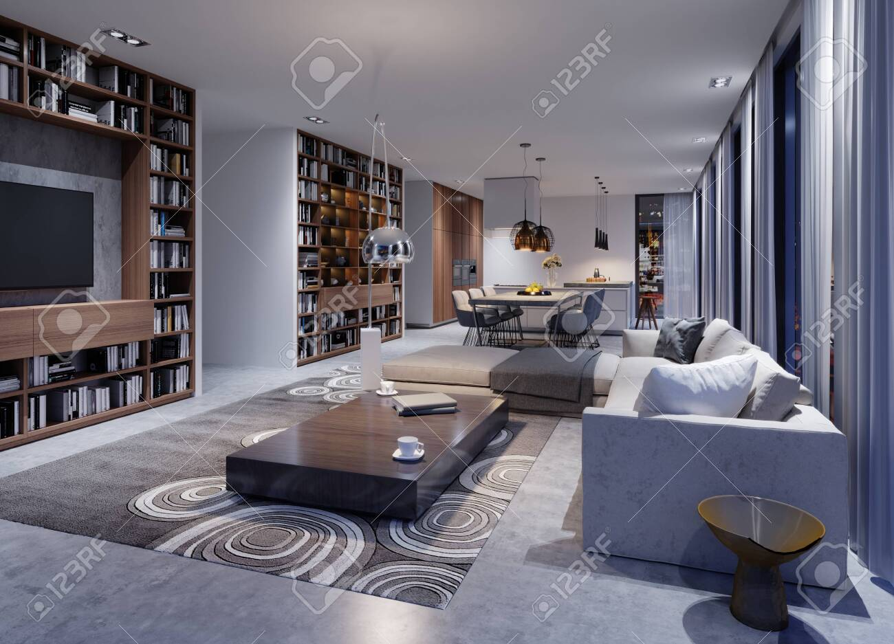 Stupendous Cozy Modern Living Room In The Evening With A Corner Sofa Designer Theyellowbook Wood Chair Design Ideas Theyellowbookinfo
