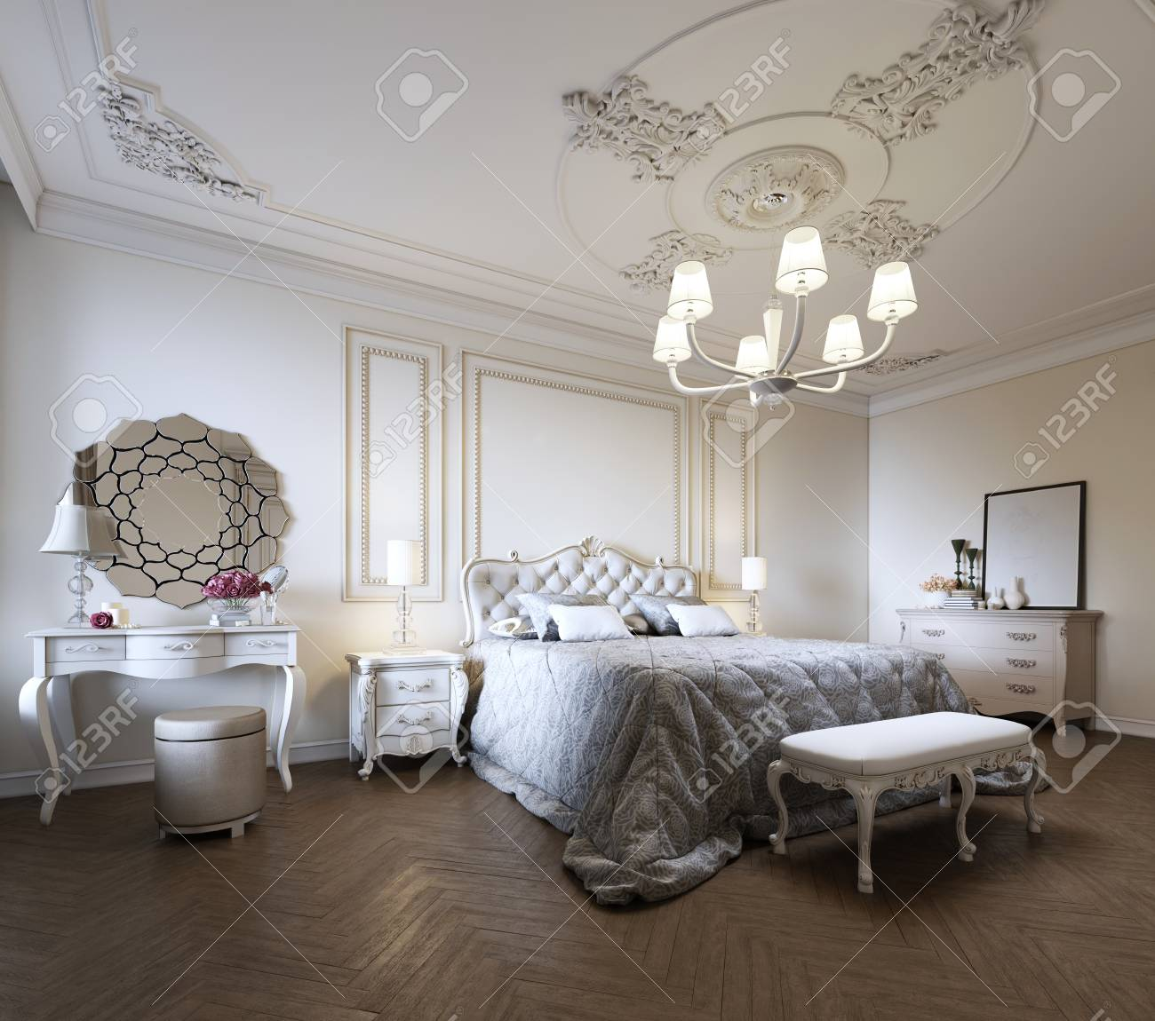 Bedroom interior design in a modern classic style. 3d rendering