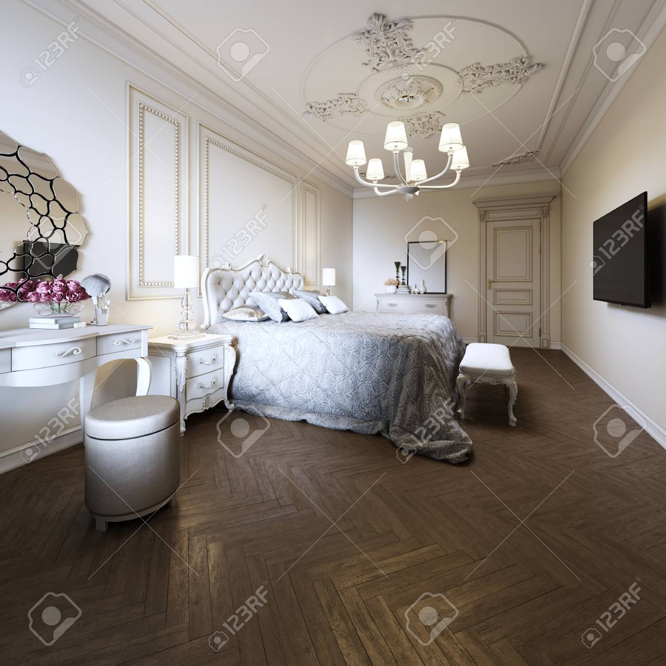 Bedroom Interior Design In A Modern Classic Style 3d Rendering Stock Photo Picture And Royalty Free Image Image 113380340