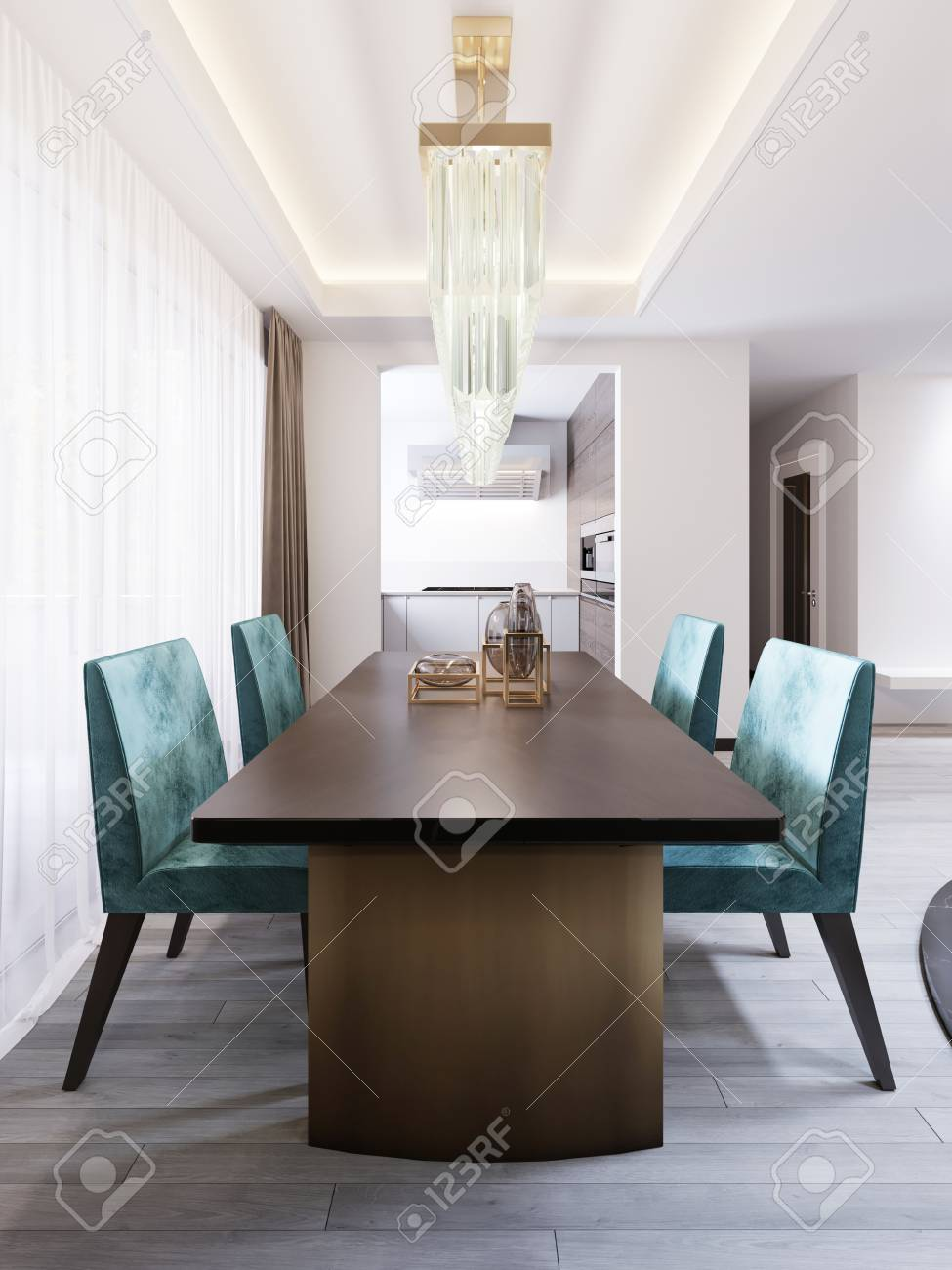 Bright Dining Room In Contemporary Style With Designer Dining