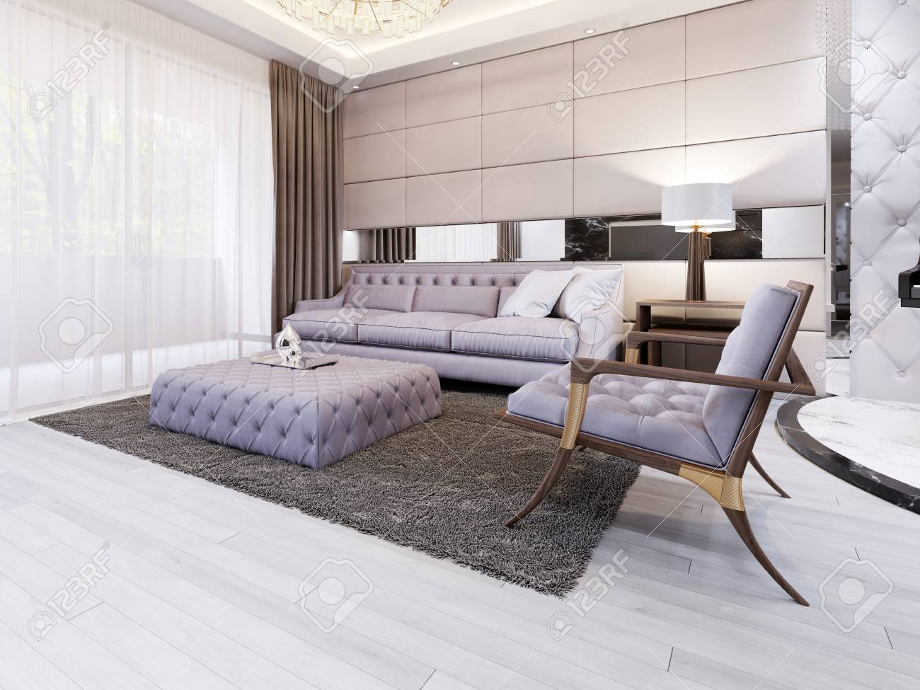 Luxury And Modern Living Room With Quilted Sofa And Chair 3d Stock Photo Picture And Royalty Free Image Image 113380655