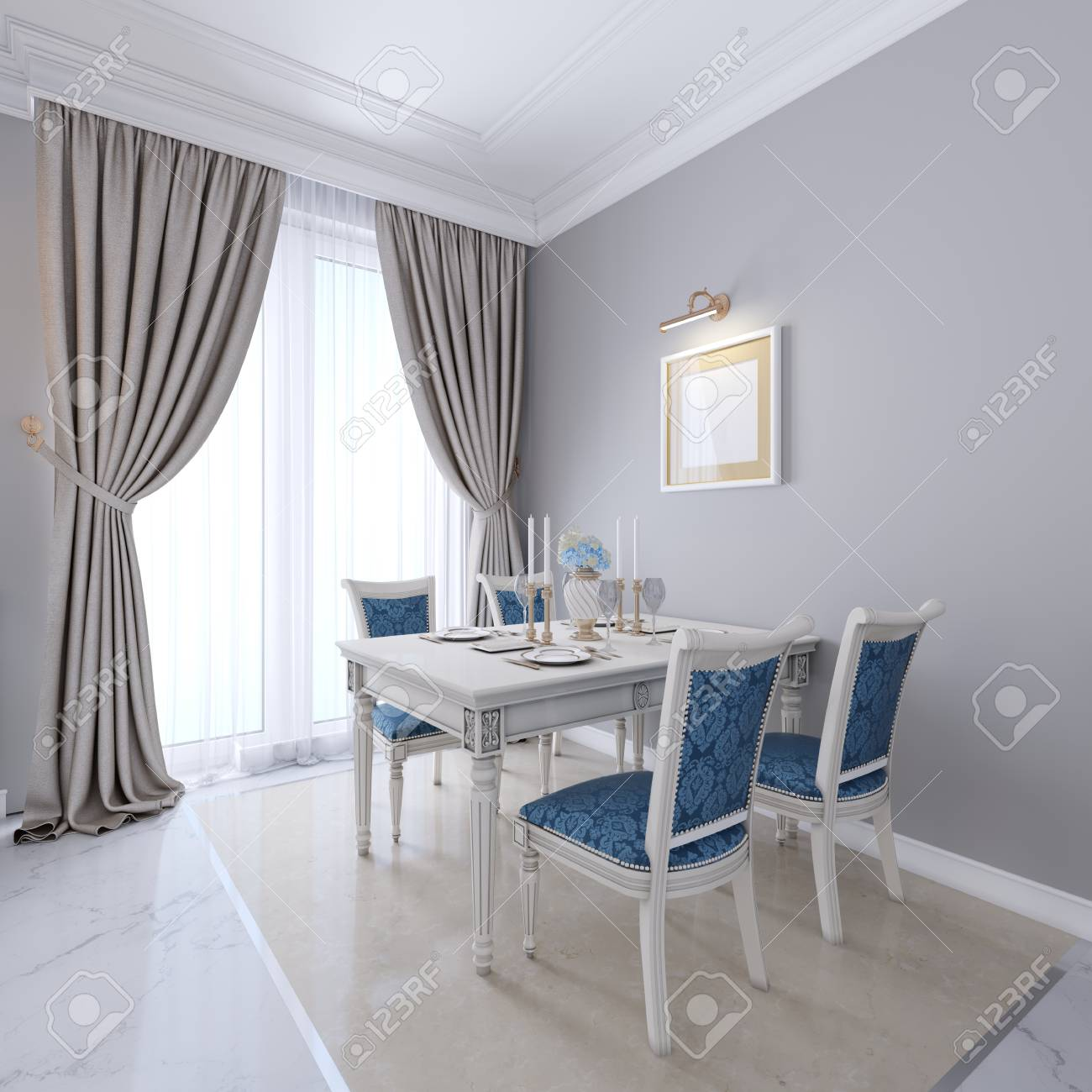 Luxurious Dining Table With White Furniture And Blue Upholstery Stock Photo Picture And Royalty Free Image Image 113380694