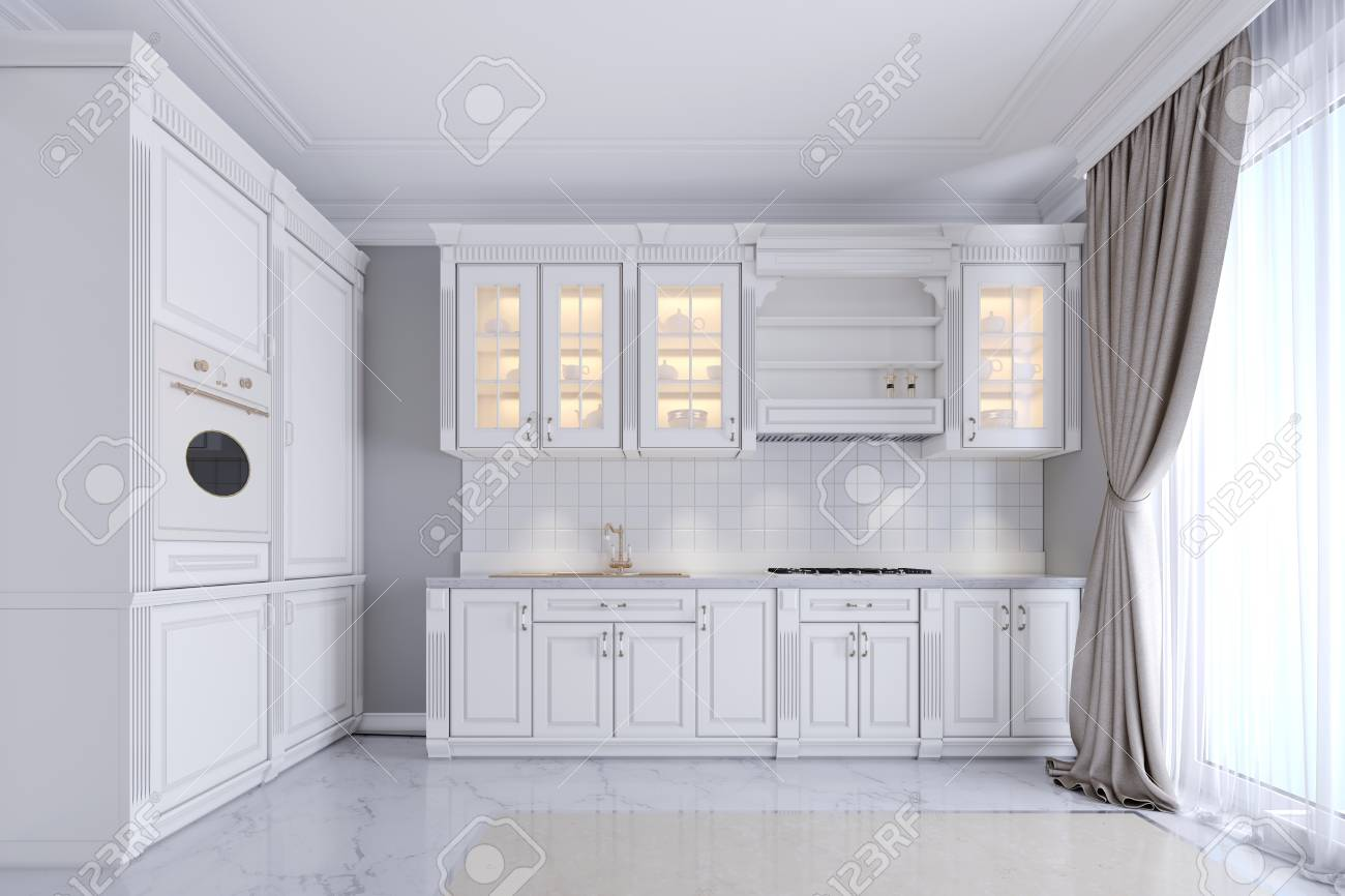 Modern White Kitchen In A Classic Style Interior With White Stock Photo Picture And Royalty Free Image Image 113380787