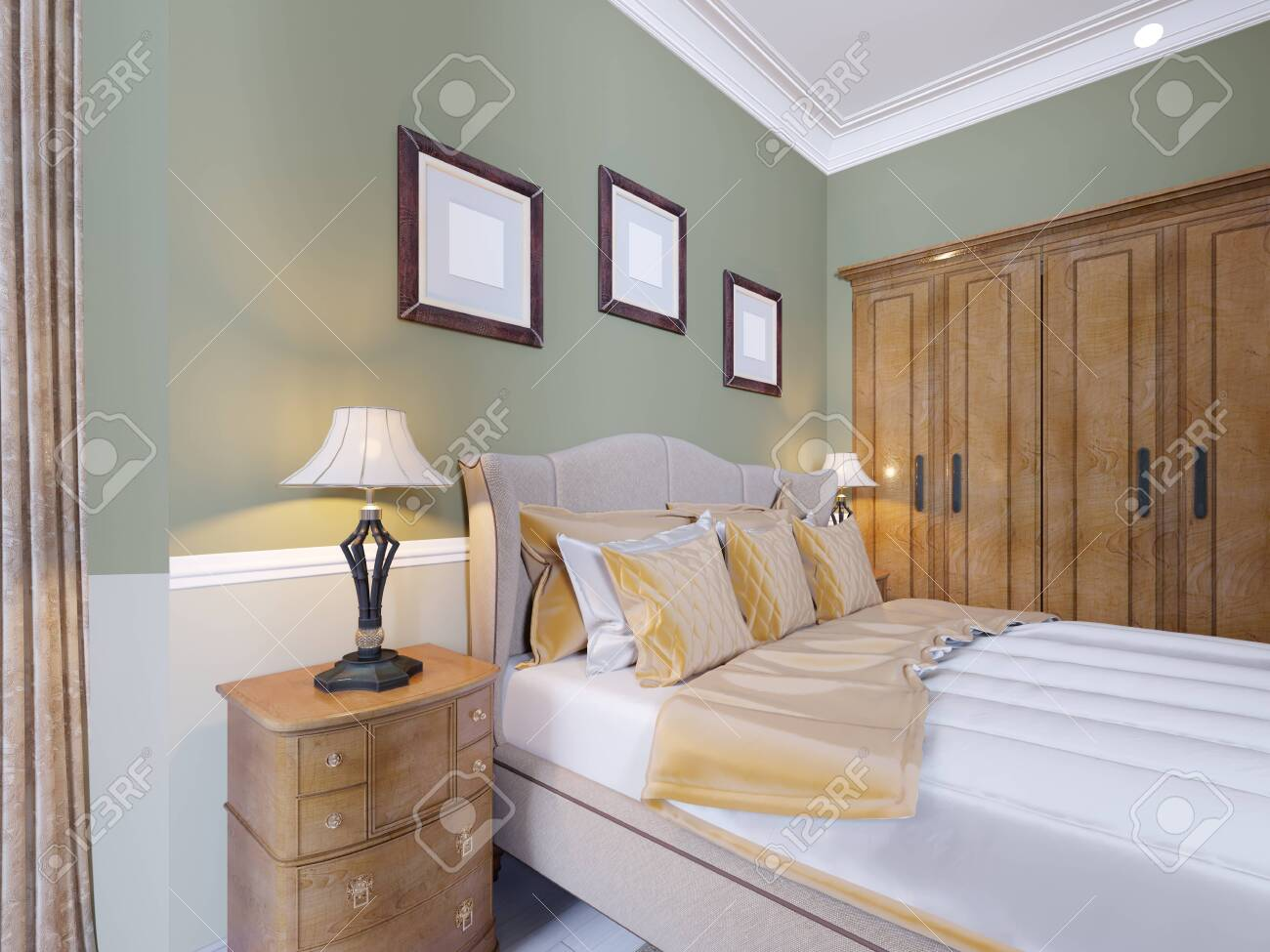 Luxurious Bed In The Interior Of A Modern Bedroom In A Classic Stock Photo Picture And Royalty Free Image Image 113380843