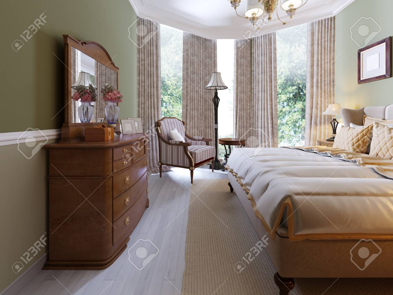 Modern Classic Traditional Bedroom Interior Design with olive..