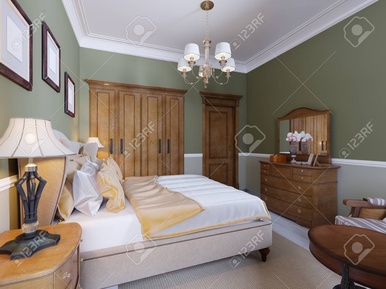 English Style Bedroom With A Large Soft Fabric Bed Bedside Tables Stock Photo Picture And Royalty Free Image Image 113380856
