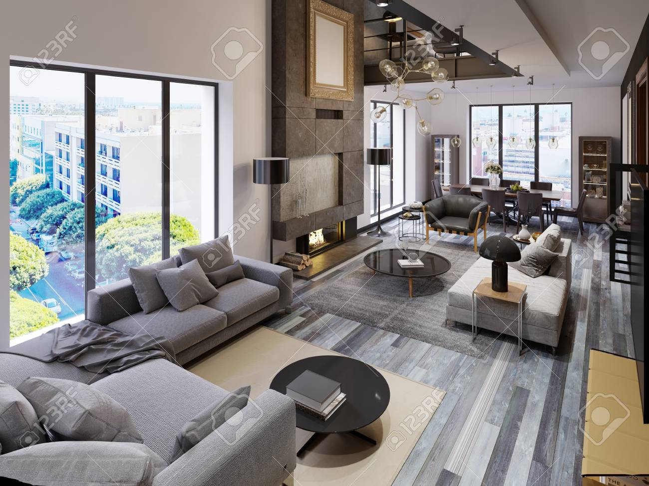 Two Level Living Room Apartment With Dining Area And Tv Area Stock Photo Picture And Royalty Free Image Image 113848154