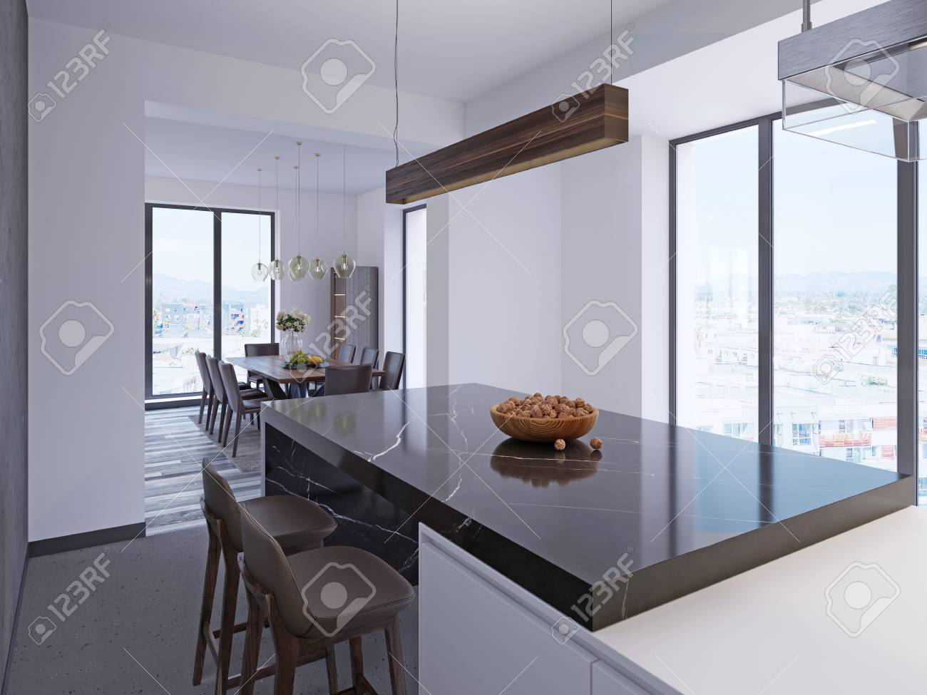 Modern bar counter in contemporary kitchen with dining area and..