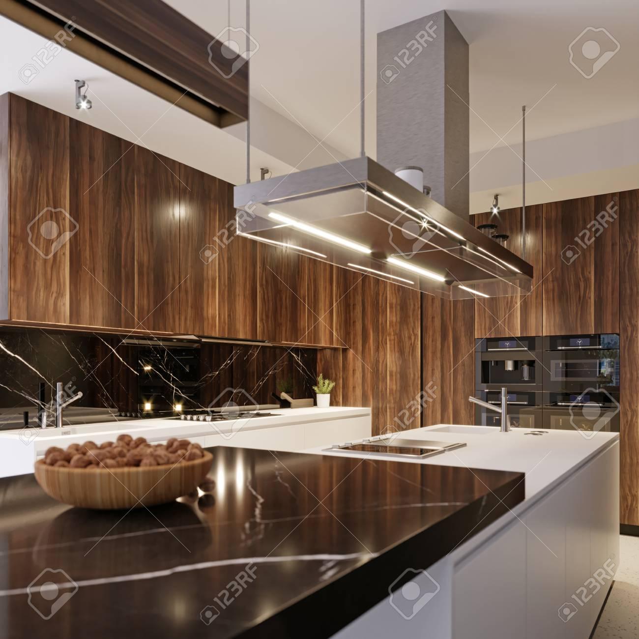 Modern Kitchen Appliances In Contemporary Interior Kitchen 3d