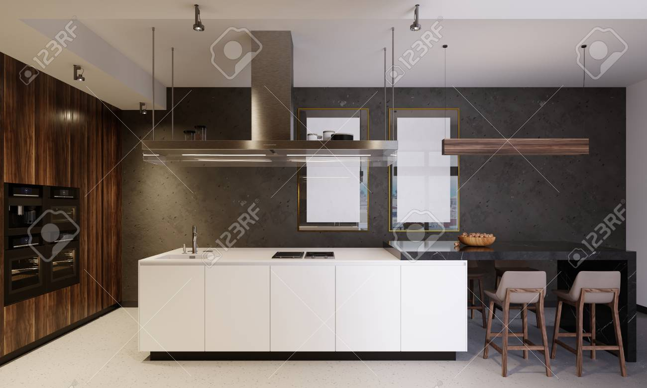 Luxurious kitchen furniture with a white bottom and wooden top, combining white and brown wooden elements. Modern contemporary kitchen. 3d rendering. - 113848485