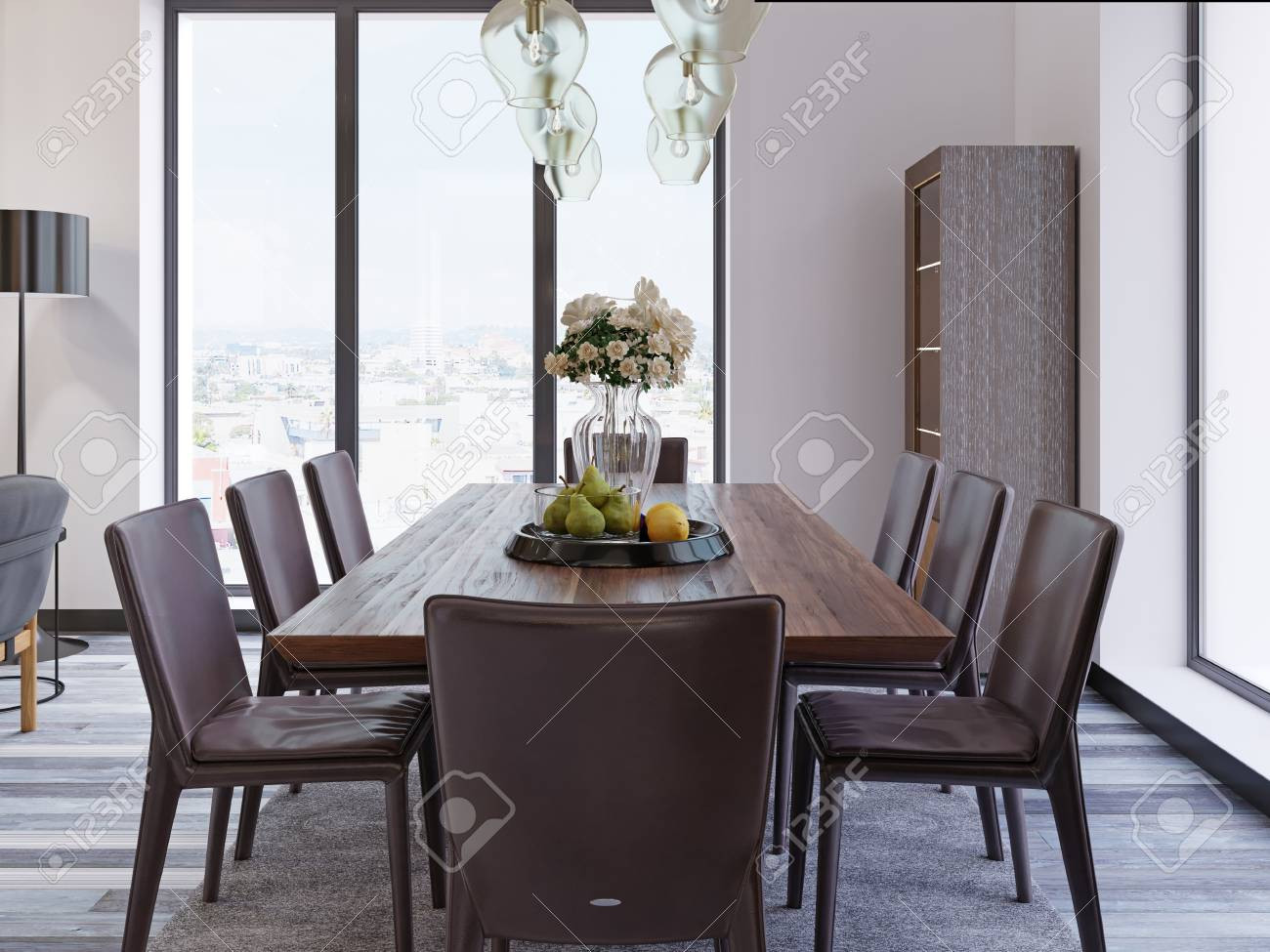 Panoramic Windows In Luxury Dining Room With Wooden Table And Leather Chairs Next To Showcase