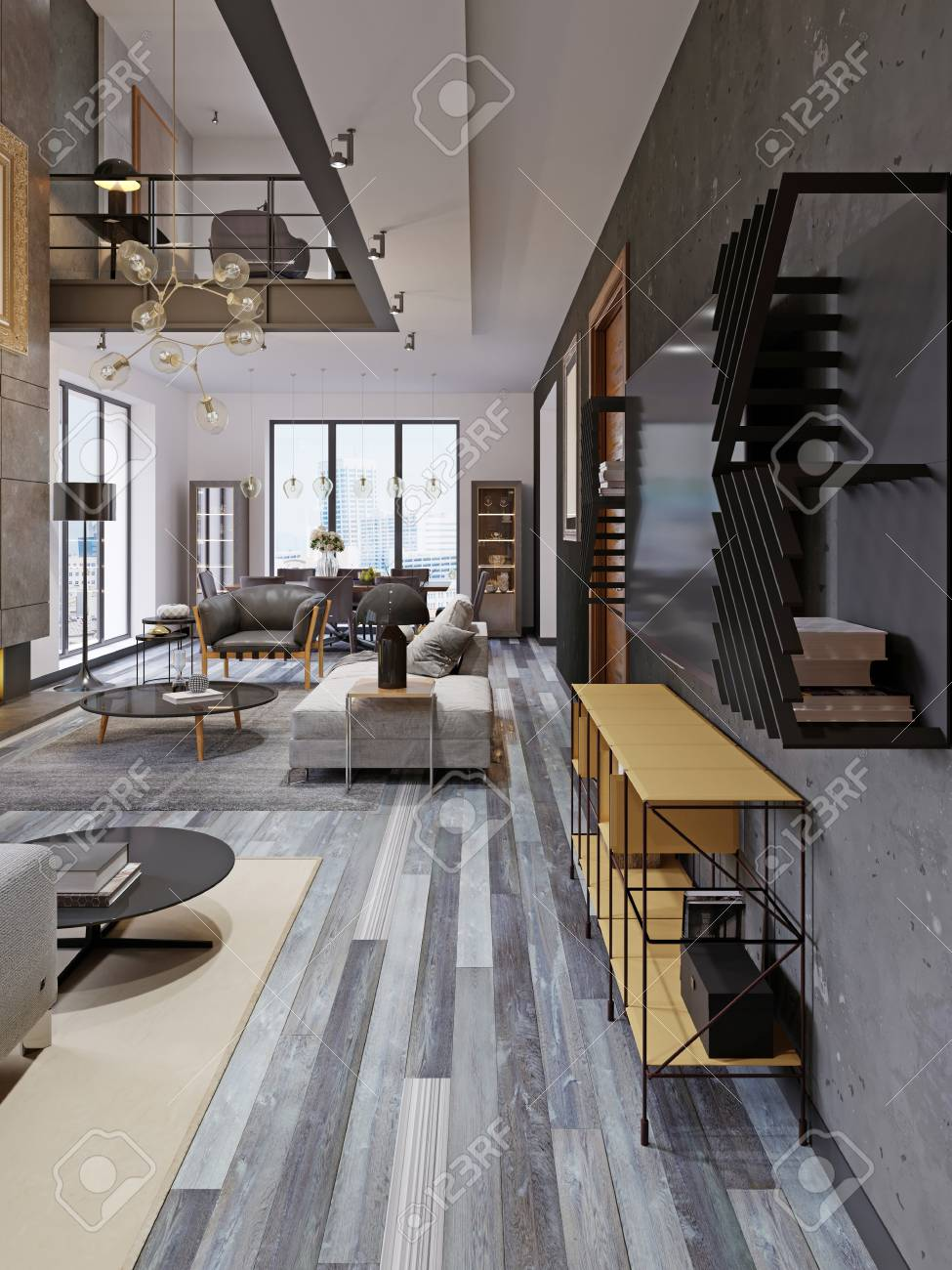 Modern studio apartment with a second floor in a loft style,..